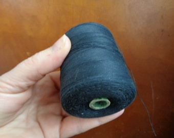 ONE Large Bobbin of Black Cotton Threads; Soviet Vintage Thread Spool; 80s USSR Vintage Sewing Threads