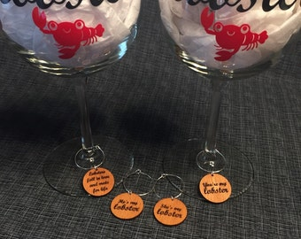 He's My Lobster - She's My Lobster - You're My Lobster - Set of 4 Wine Charms - WC006