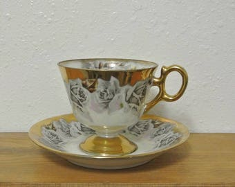 Vintage Gold Teacup and Saucer