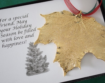 Gold Maple Leaf Ornament, Sugar Maple Leaf, Extra Large, Ornament Gift, Christmas Card, Happy Holiday Gift, First Christmas, ORNA68