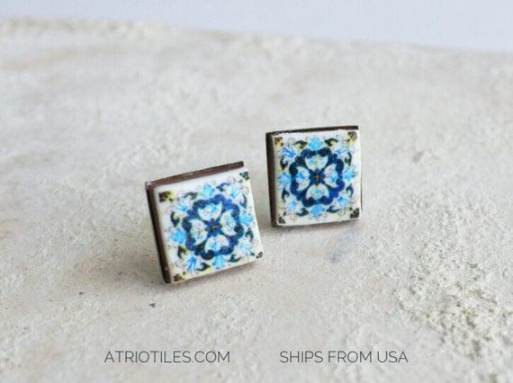 Stud Earrings Tile Post Portugal  Antique Azulejo, AvEIRO Blue  - STAINLESS Steel Hypo Allergenic - Ships from USA - Gift Box Included 544
