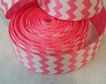 Pink Chevron Ribbon | Grosgrain Ribbon | Bow Making Ribbon | Grosgrain Ribbon | Bow Supplies | Grosgrain Bow Making Ribbon