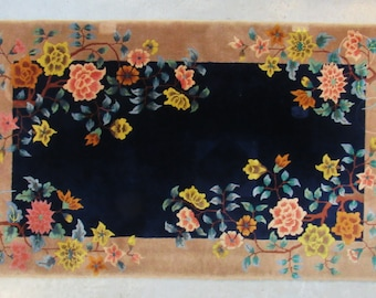 Genuine hand Woven Oriental hand Knotted Rug 5.5 x 3 Blue