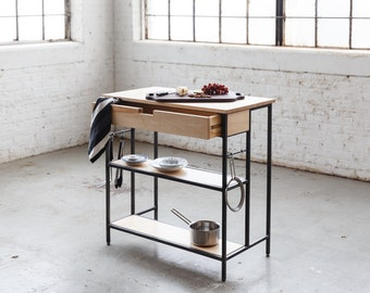 Maple Kitchen Island - Solid Maple and Steel - Free Shipping