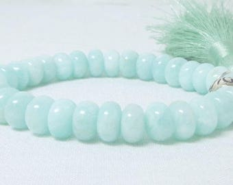 Amazonite Bracelet, Natural Jewelry, Gemstone Stacking, Boho Yoga, Mint Silky Tassel, Stretch Stackable, Teal Beads