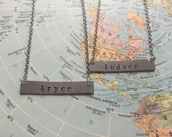 The Sadie Necklace - Hand Stamped Name Plate Necklace - Small
