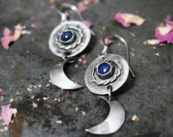 Goddess Crescent Moon Lapis Lazuli Earrings. Crescent Moon Dangle Earrings Handmade in Sterling Silver. Pagan, Wiccan