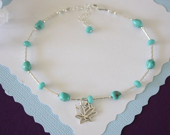 Lotus Turquoise Anklet and Sterling Silver, Anklet, Blue, Silver Anklet, Beach, Vacation, Beach Wedding, Bridesmaid, best friend gift