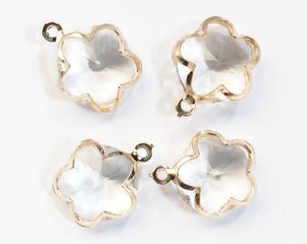 Bulk 20 pcs of light gold glass flower charm 20x16mm, flower pendant