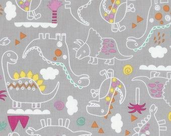 SALE Outlined Dinosaurs Fabric; You Choose Size; C5602 Timeless Treasures Dino-Mite; Novelty Fabric; T-Rex, Stegosaurus, Brontosaurus