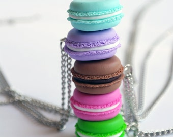 Macaron necklace, macaroons, Polymer Clay Food necklace, Macaron jewelry, Miniature food jewelry, French macaron, Parisian Miniature Pastrie