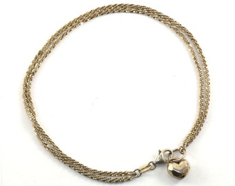 Vintage Italy Milor Heart Shape Charm Sparkle Chain Gold Plated Ankle Bracelet Sterling Silver BR 859