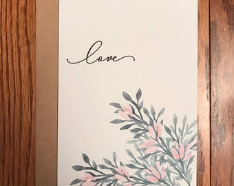 Love Watercolor Flowers Greeting Card