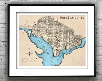 Washington, DC Art Print Poster District of Columbia Old Vintage Map