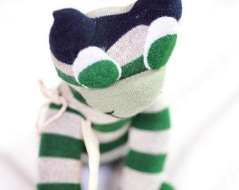 Sock frog, sock animal, softie, plush toy sock monkey, sock frog. Fergus Frog.