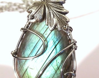 Pendant Blue Labradorite Necklace wire wrapped with silver plated leaf art nouveau