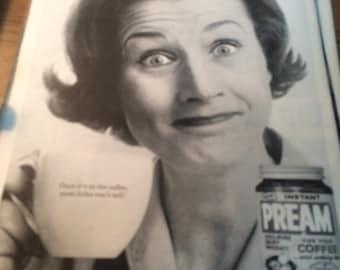 Circa 1962 Pream Coffee ad. 13x10 vintage print ad.