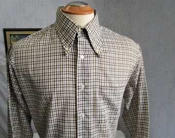 "70s 16 1/2"" K Mart Button Down Big Collar Shirt Brown Plaid"