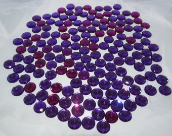 "Purple Acrylic Gems Round .67"" 17mm non-sew glue in - 157 total"