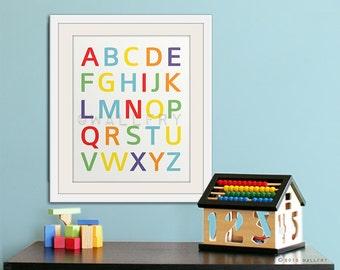 Modern Alphabet wall art. Nursery art ABC poster. Children artwork for playroom WallFry alphabet print by WallFry