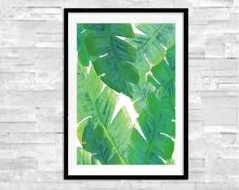 Banana leaves print, printable banana print, tropical print, printable banana leaves, tropical art print, watercolor print
