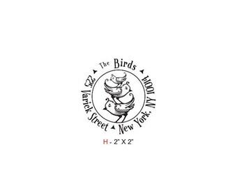 May Sale Birdies Family Round Return Address Custom Rubber Stamp Birdie H