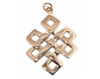 LARGE Bronze Buddhist Eternity Endless Knot Pendant Necklace