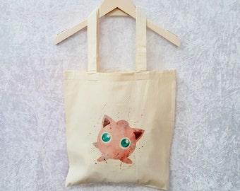 Jiggylypuff Canvas Tote Bag Cute Cosplay Bag Pokemon Gift Pokemon Tote Bag Gaming Gift Fantasy Gift
