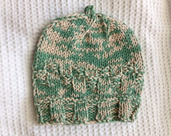 "Handknit Baby's Hat, Multifiber Aqua and Cream Soft Knit Hat. One of a Kind, fits head size 13"" to 16""."