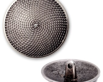 19mm Vintage Metal Textured Pattern Button with Shank by each, SAN-2275Z