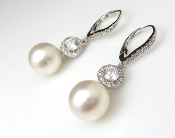 wedding jewelry bridal earrings christmas prom party bridesmaid gift swarovski 12mm round pearl cubic zirconia sterling silver hook earrings