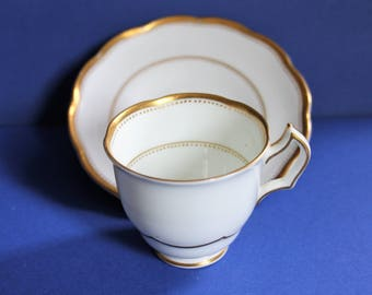 Rare collectible Crescent white and gold Coffee Cup and Saucer