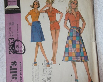 Retro Jumpsuit and Wrap Skirt 1970s Vintage Sewing Pattern MCCALL'S 2863