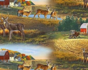 Whitetail Deer Fabric - Barn & Farm Field Scene 8901 - Elizabeth's Studio YARD