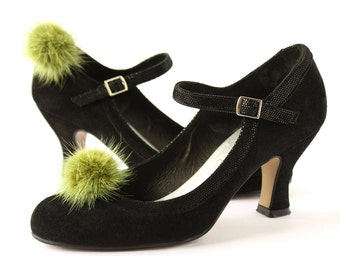 Shoe Clips Olive Green Mink Fur Pompon