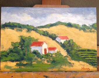 Plein Air Oil Painting Original Landscape Artwork California Golden Hills FRONTAGE ROAD VINEYARD Fairfield Suisun City Vacaville Artist usa
