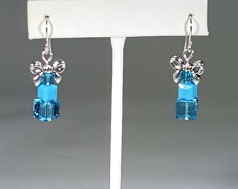 Swarovski Crystal Turquoise 3 Boxes with Silver Bow Earrings