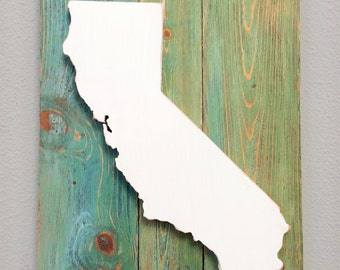 "Handcrafted State Wood Cutout Wall Decor (Large appx 15""x20"")  -  Wooden Wall Art. State Home Decor. California, Texas, and all US states"