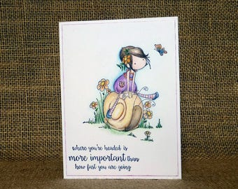 Handmade encouragement card, supportive card, motivational card, where you are headed is more important than how fast you are going