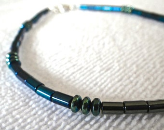 Sterling Silver Blue, Green, and Dark Grey Hematite Anklet