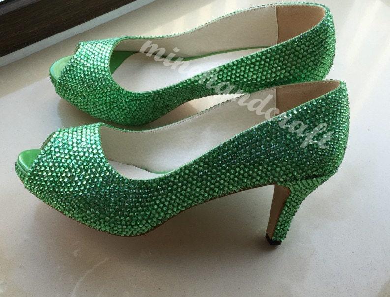 Green Women Shoes Bright Green Crystal Low Heels Custom
