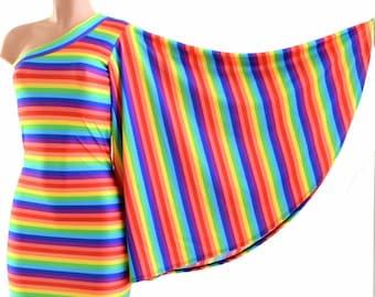 Rainbow Stripe One Shoulder Fan Sleeve Bodycon Dress in Stretchy Spandex  Gay Pride 153934