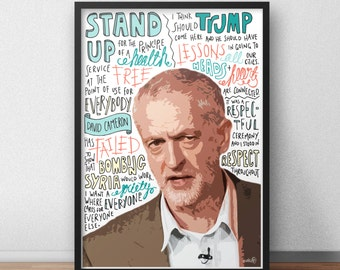 Jeremy Corbyn print / poster hand drawn typography quotes political print / poster