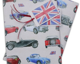 MG Classic vintage car gift wrapping, 2 sheets with co-ordinating gift tags
