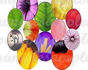 30x40 mm 18x25 mm 13x18 mm Oval Digital collage sheet flowers,  Digital oval cabochon images flower, digital images flower