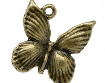 SET of 4 butterfly (R21) Bronze Butterfly charms