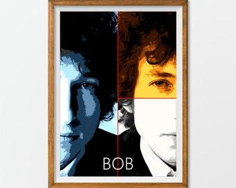 Bob Dylan Poster Print Art, Home Decor Gift idea