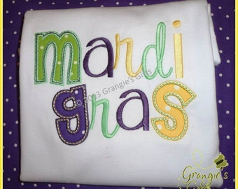 Custom Mardi Gras Personalized Applique T-Shirt (Purple, Green, Gold)