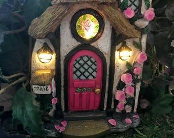 Miniature Solar Fairy Door - Rose Briar
