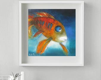 Turquoise orange wall canvas giclee print,Pisces Zodiac gift idea Art Print whimsical Japanese Koi Carp Spruce up toddlers room Goldfish